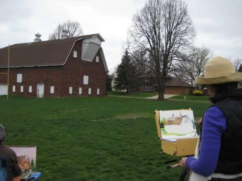 leslie paints the barn